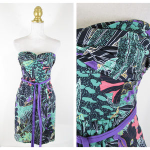 Edme & Esyllte Purple Green Floral Strapless Dress